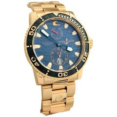 Ulysse Nardin Rose Gold Maxi Marine Blue Surf self-winding Wristwatch Ref 266-36