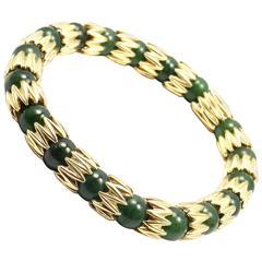 Vintage Tiffany & Co. Jade Bead Yellow Gold Link Bracelet