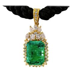 Colombian Emerald Diamond Gold Enhancer Pendant