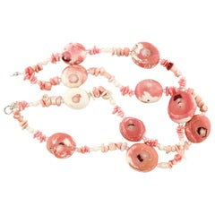 Gemjunky BoHo Chic Double Strand Pink White Natural Coral Silver Necklace
