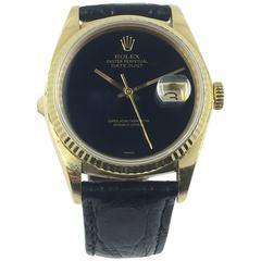 Rolex Yellow Gold Black Onyx Datejust Automatic Wristwatch with Papers