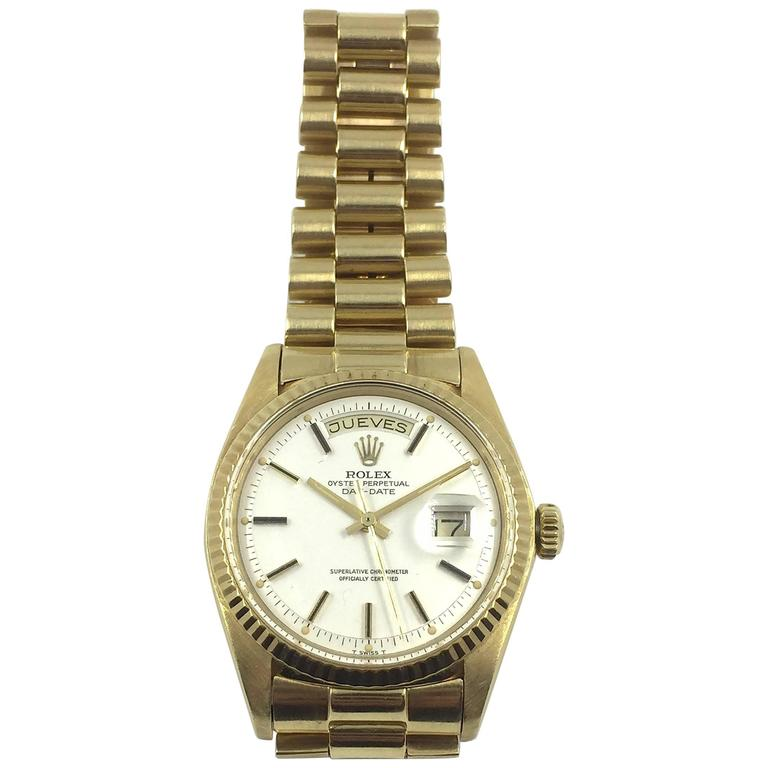 Rolex Yellow Gold Oyster Perpetual Day-Date Presidential Automatic Wristwatch