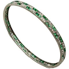 Elegant TB Starr Emerald Diamond Platinum Bangle Bracelet
