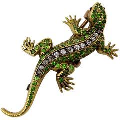 Victorian Demantoid Garnet Ruby Diamond Gold Salamander Brooch