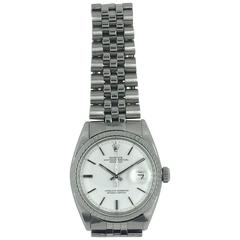 Rolex Stainless Steel Snow White Oyster Perpetual Datejust Automatic Wristwatch