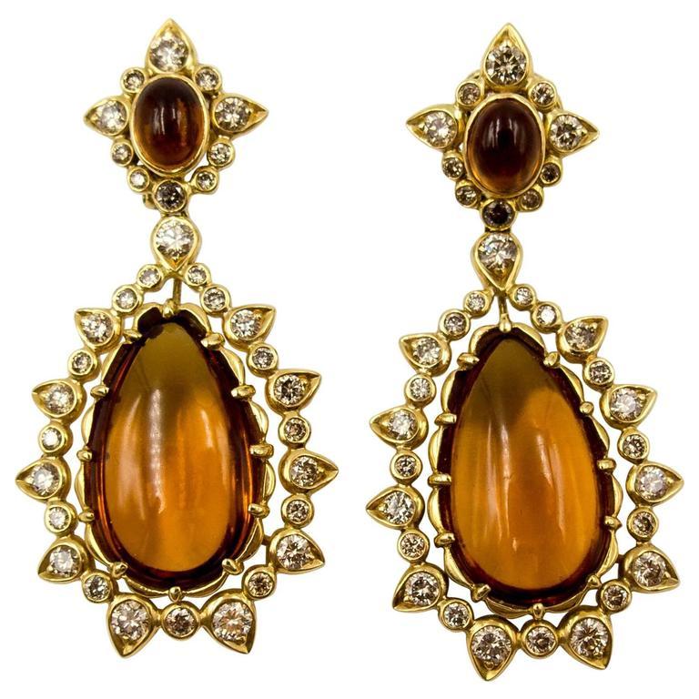 Marilyn F. Cooperman Honey Citrine Diamond Pendeloque Earrings For Sale