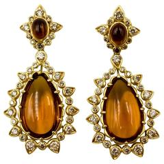 Marilyn F. Cooperman Honey Citrine Diamond Pendeloque Earrings