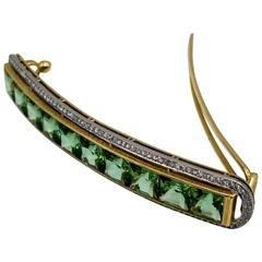Custom-Made Mint Tourmaline Diamond Gold Platinum Hair Clip