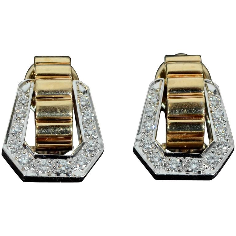 1950s Diamond Gold Stirrup Earrings