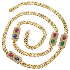 Long Curbchain Link Necklace with Gems
