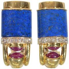 Lapis Lazuli Ruby Diamond Gold earrings