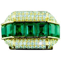 Emerald Pave Diamond Yellow Gold Ring