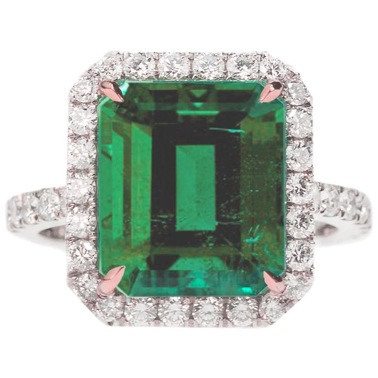 AGL Certified Colombian Emerald Gold Ring For Sale
