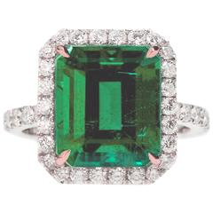 AGL Certified Colombian Emerald Gold Ring