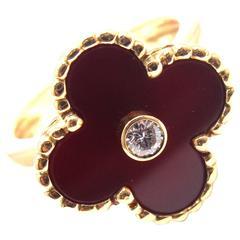 Van Cleef & Arpels Vintage Alhambra Diamond Carnelian Yellow Gold Ring