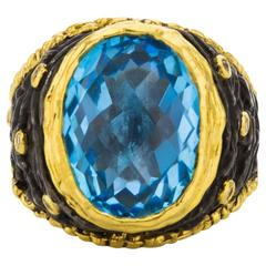 Victor Velyan Blue Topaz Diamond and Gold Ring