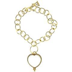 Temple St. Clair Gold Crystal Heart Charm Bracelet