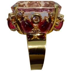 Michael Kneebone Kunzite Cabochon Rhodolite Garnet Diamond Cocktail Ring