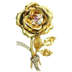 Large French Multi Gemstone Flower Brooch