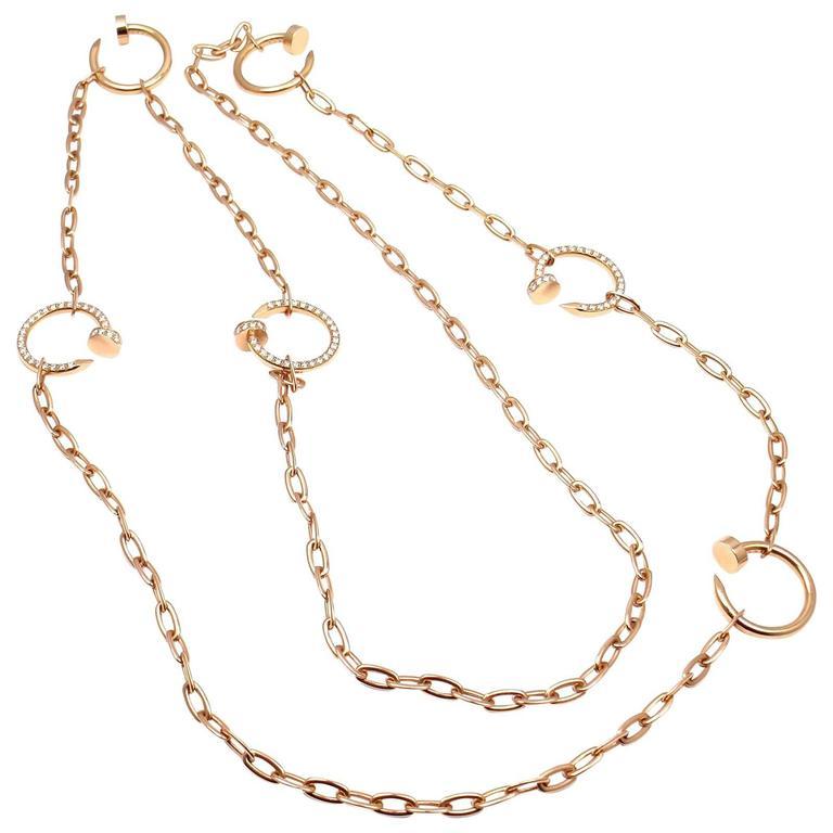 Cartier Juste un Clou Nails Diamond Rose Gold Necklace at ...