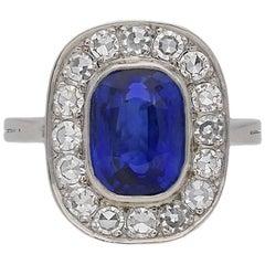 Natural Burmese Sapphire and Diamond Coronet Cluster Ring, circa 1940