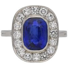 Natural Burmese Sapphire and Diamond Coronet Cluster Ring, circa 1940