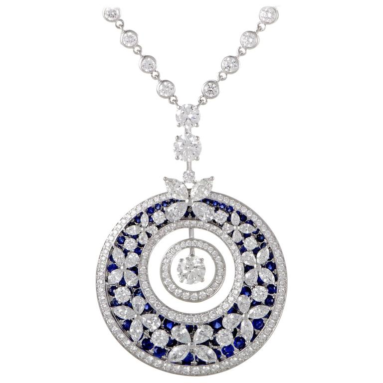 Graff Diamonds Diamond and Sapphire Butterfly White Gold Pendant Necklace