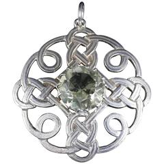 Antique Scottish Silver Pendant Citrine Stone Celtic