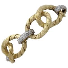 Diamond and Yellow Gold Link Bracelet