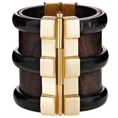 Fouche Horn Emerald Wood Cuff Bracelet
