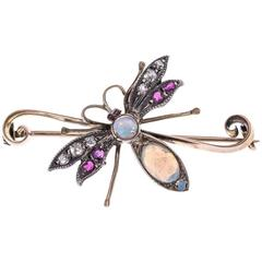 Victorian 9 Carat Gold Opal, Diamond and Ruby Dragonfly Brooch