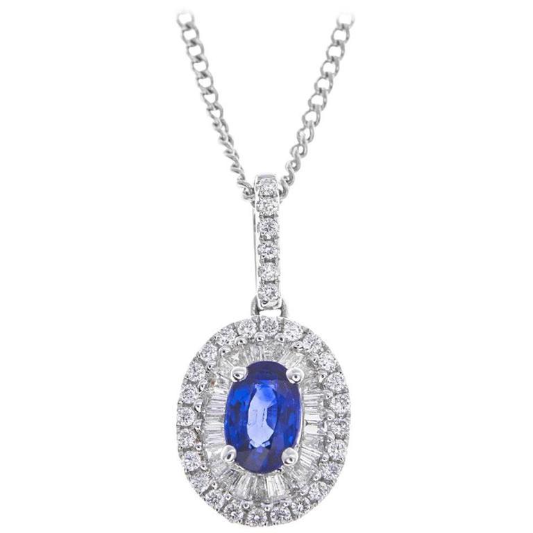 0.59 Carat Sapphire Diamond White Gold Oval Cluster Pendant