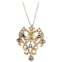 Early 20th Century Sapphire Diamond Yellow Gold Pendant, circa 1920
