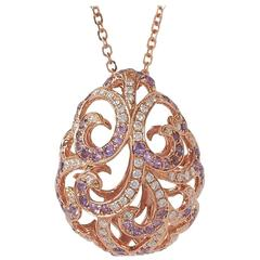 Fei Liu Whispering 18 Carat Rose Gold Diamond and Amethyst Large Tear Pendant