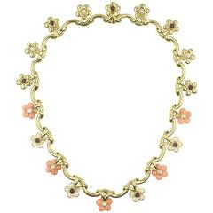 French Coral Ruby Diamond Yellow Gold Floral Necklace