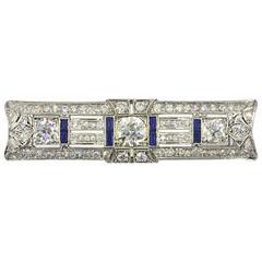 Art Deco Diamond Sapphire Platinum Brooch Pin