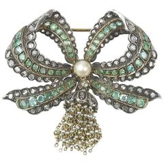 Emerald Diamond Bow Brooch