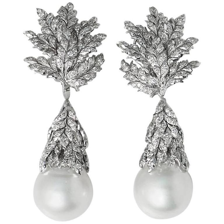 Buccellati South Sea Pearl 2.71 Carat Diamond White Gold Drop Earrings