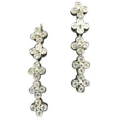 Tiffany & Co. Lace Collection Diamond Platinum Long Drop Post Earrings