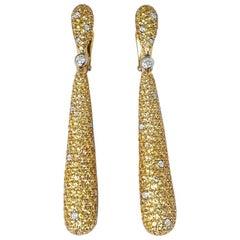 De Grisogono 18 Karat Yellow Gold Yellow Sapphire & White Diamond Gocce Earrings