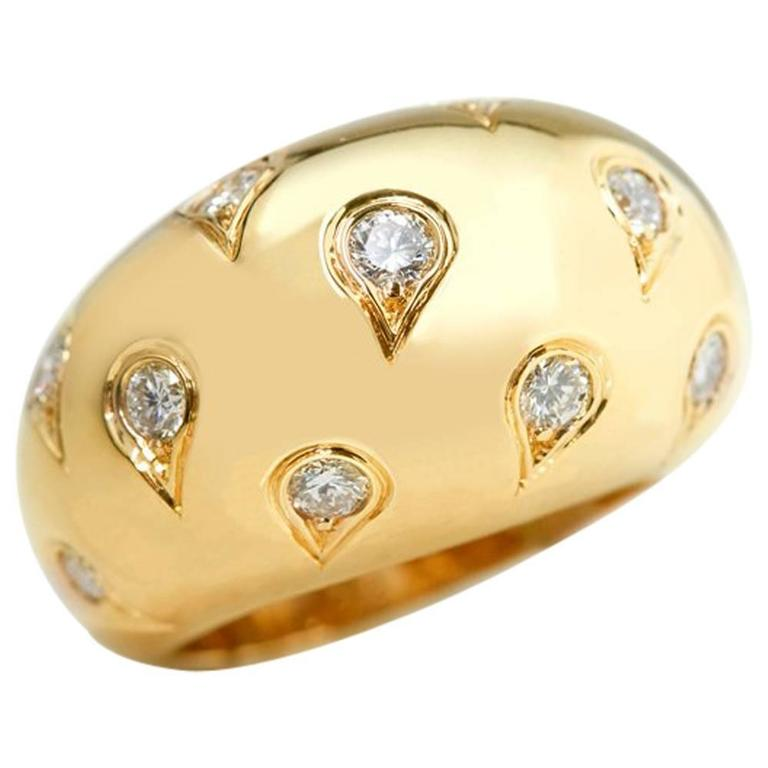 Cartier 1.00 Carat Diamond Yellow Gold Bombe Dome Ring