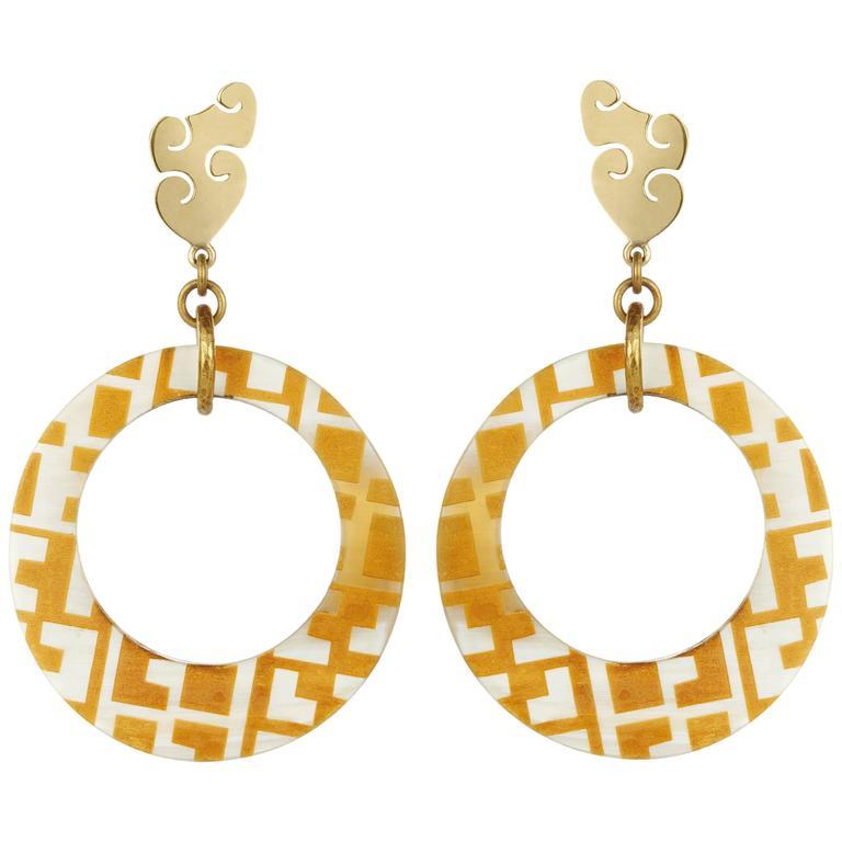 Fouche Horn Africa Engraved Earrings
