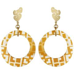 Fouche Horn Africa Engraved Earrings