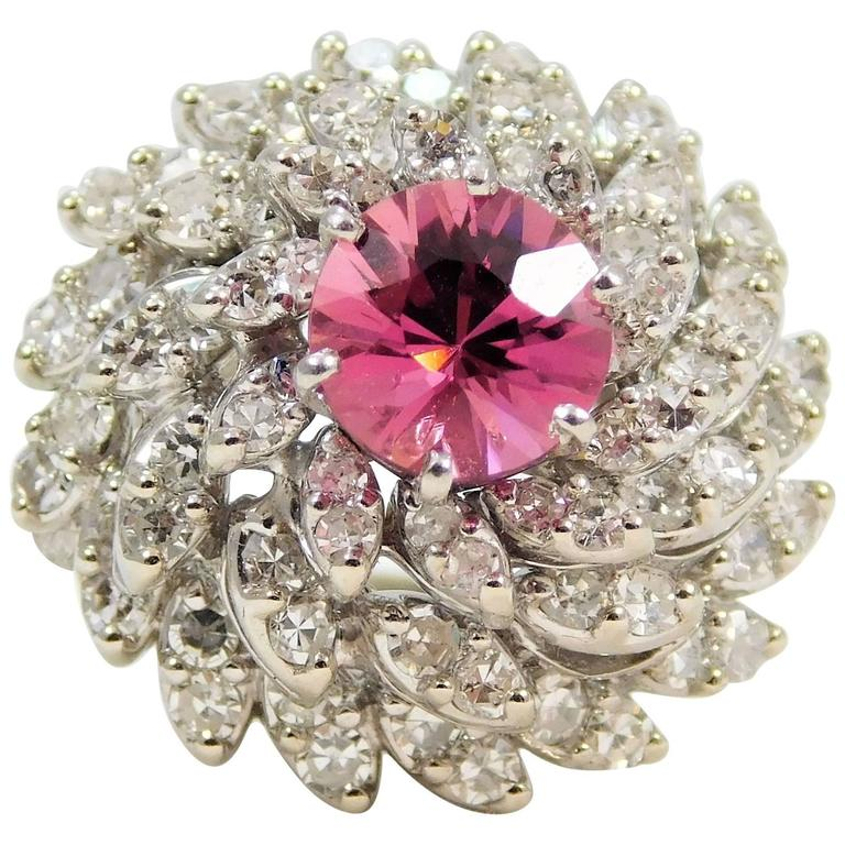 Pink Sapphire Diamond White Gold Cluster Ring