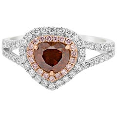 Certified Natural Brown Orange Diamond Double Halo Two-Color Gold Ring