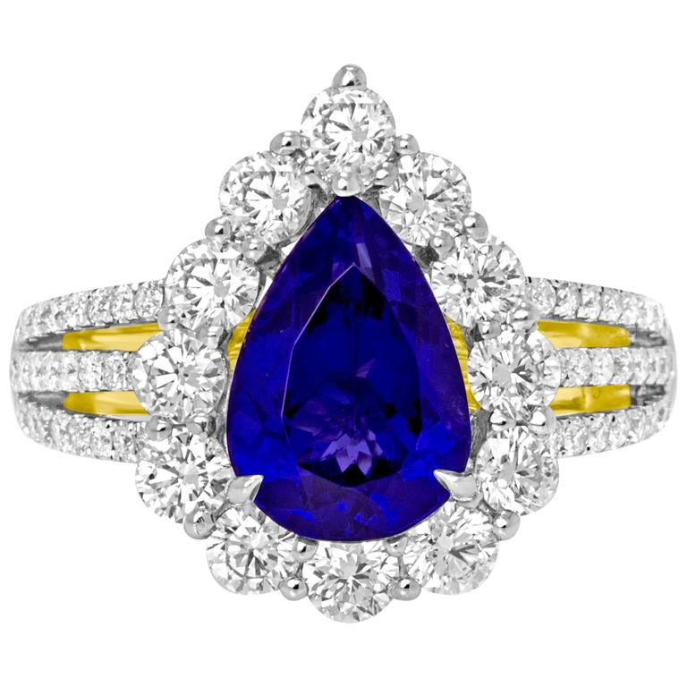 Champagne Tanzanite Tanzanite: Tanzanite Diamond Two Color Gold Halo Ring At 1stdibs