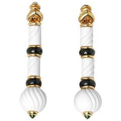 Bulgari Green Tourmaline Chandra Drop Porcelain Gold Earrings