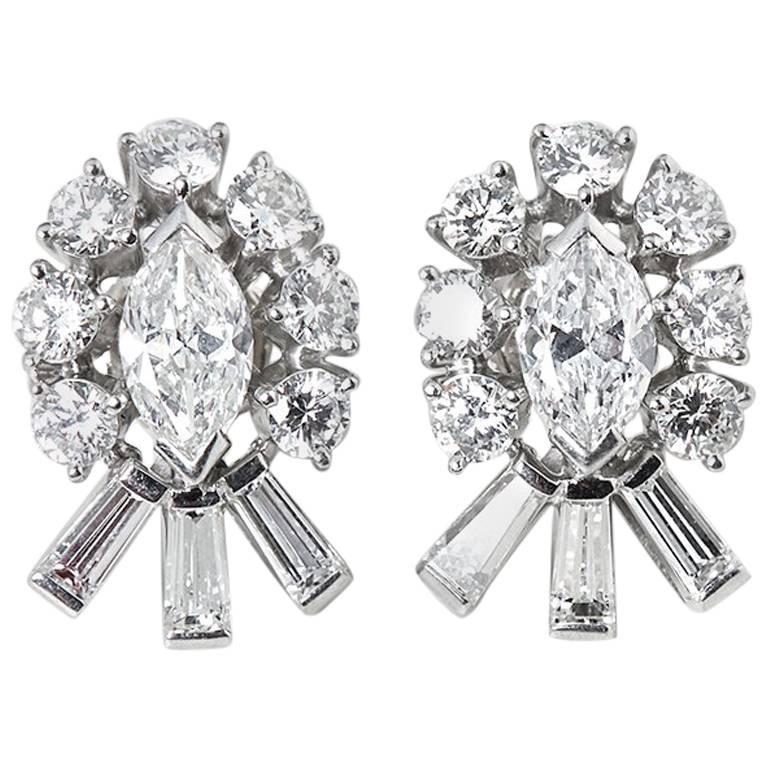 Tiffany & Co. 2.70 Carat Diamond Palladium Stud Earrings