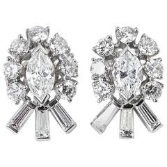 Tiffany & Co. 2.70 Carat Diamond Palladium Stud Earrings