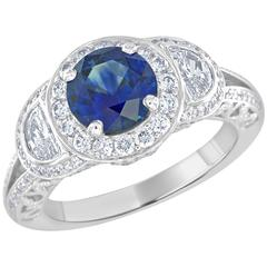 1.74 Carat Sapphire and Half Moon Diamond Platinum Ring